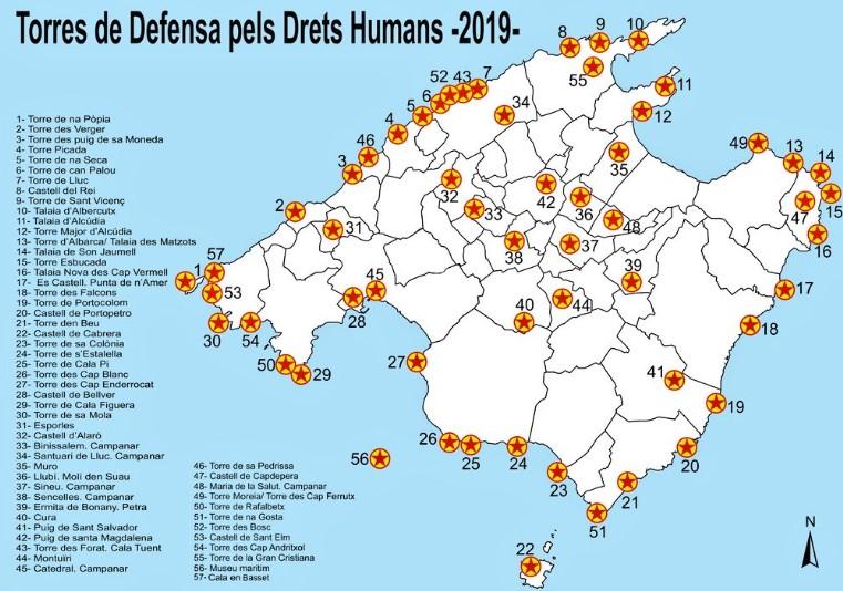 mapa torres defensivas en mallorca